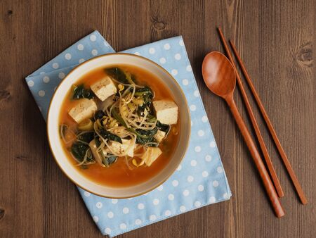Korean food Spinach and bean sprouts Soybean Paste Soup Foto de archivo