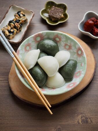 Korean food Songpyeon, half moon shaped rice cake 免版税图像