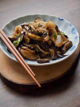 Korean food fried eggplant vegetables, side dish