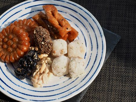 Korean traditional sweets and cookies, glutinous rice cake, gangjeong, Yakgwa Stock Photo