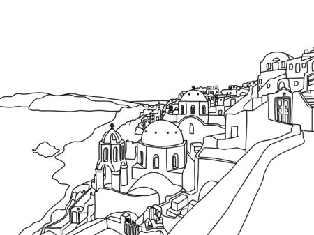 Greece Santorini Island Illustration, Drawing, coloring 矢量图像