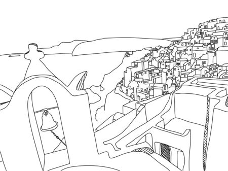 Greece Santorini Island Illustration, Drawing, coloring Illusztráció