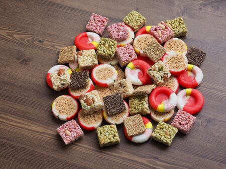Korean traditional sweets and cookies, gangjeong, candy