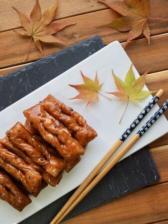 Korean traditional sweets Yakgwa, Honey Cookie and Maple leaf