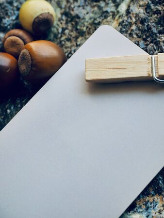 White clothing label and autumn acorns
