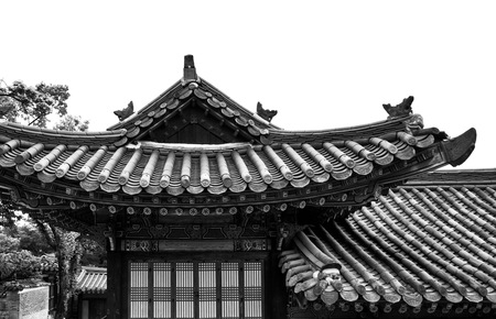 Koreas Traditional Palace Changdeok Palace, Black and white photo Редакционное