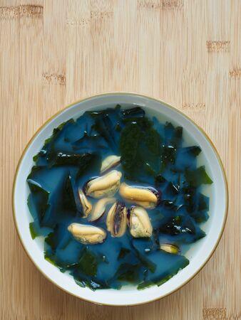 Korean food mussels seaweed soup