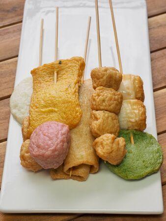 Asian food fish cake, fish paste, eomuk, odeng, kkochi eomuk and Soy sauce