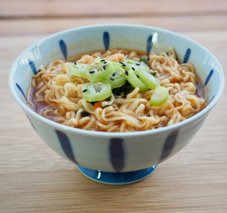 Asian food ramen and Pickled radish and White rice