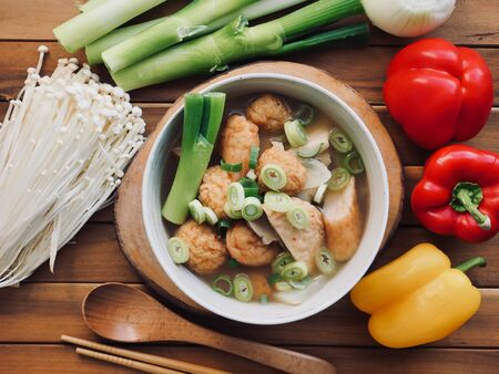 Asian food Fish paste stew and vegetable, eomuk tang
