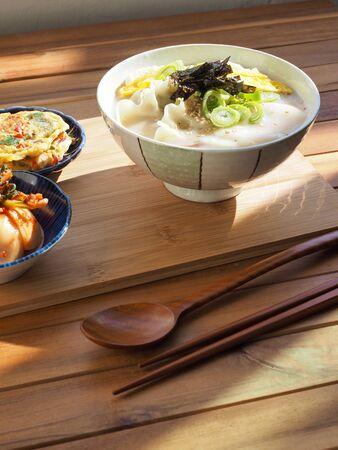Korean traditional food Sliced ??Rice Cake Soup, Tteok and dumpling soup