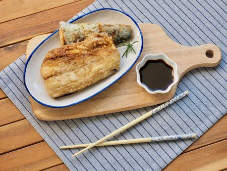 Asian food grilled mackerel and soy sauce