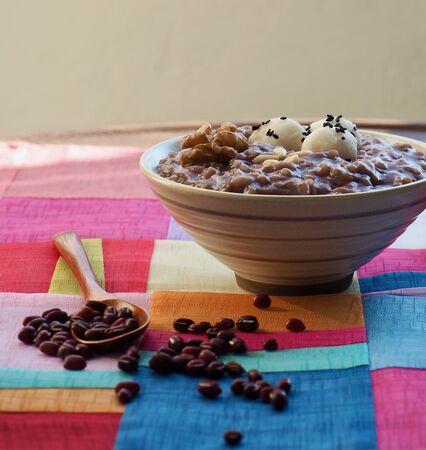 Korean food Red bean porridge and Rice cake