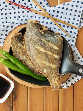 Asian food pacific sanddab grilled and green pepper Stock Photo