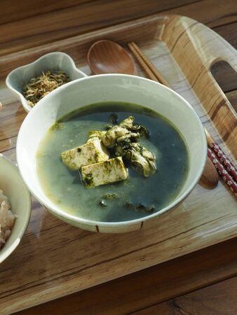 Korean food Capsosiphon fulvescens oyster tofu soup Stock Photo