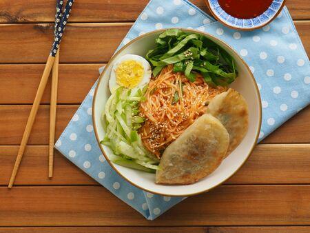 Korean food Bibim noodles, Bibim guksu and dumpling