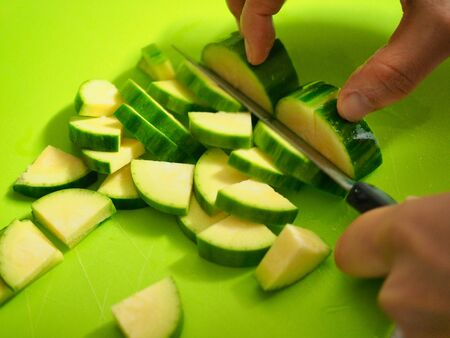 Fresh vegetables Young squash Slicing, Ready to cook