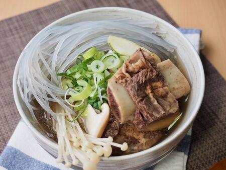 Korean traditional food beef Galbi-tang, Beef Short Ribs Soup Фото со стока