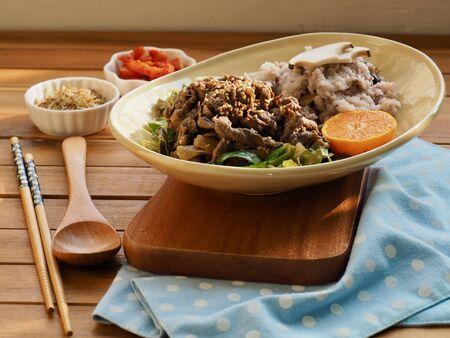 Korean traditional food beef bulgogi and with Rice Reklamní fotografie