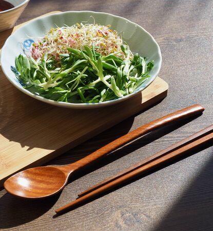Korean food Sedum sarmentosum and sprout and rice and Kochujang, bibimbap