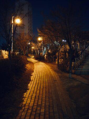 Korea night streets and street lamps Stock Photo