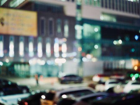 City center night street bokeh, missed focus