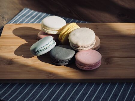 Colorful macaroons in different colors, sweet food