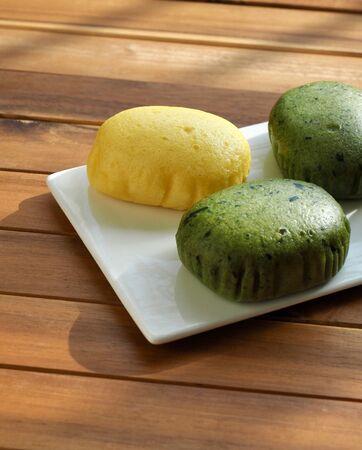 Asian Food, Yellow, green and purple rice cake