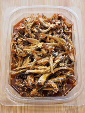Korean food Stir-fried anchovies, Small anchovy, Korean side dishes Stock Photo