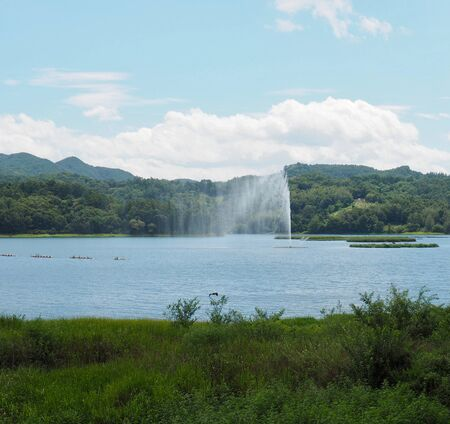 Daecheong Lake and fountain scenery in Cheongju City, South Korea