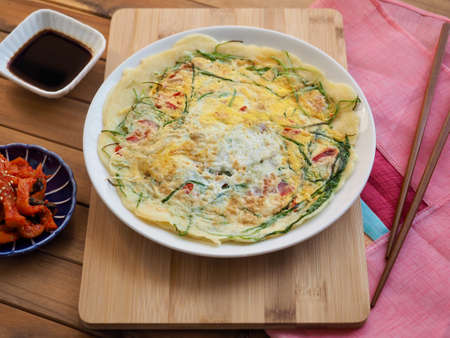 Korean style Egg vegetable pancakes and Soy sauce, Pajeon