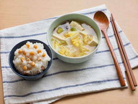 Asian food White rice and Cicer arietinum, Miso Soup