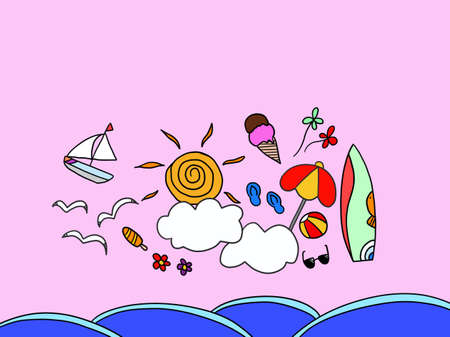 Summer vacation, sun, parasol, surfboard, illustration