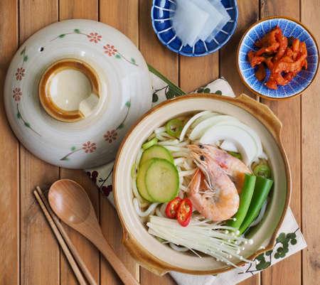 Asian Food Shrimp Pot Udon, Noodle Stock Photo