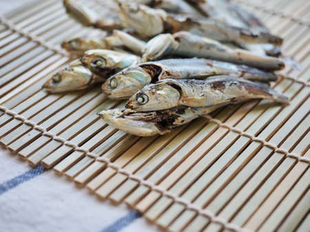Dried anchovy background, food ingredient