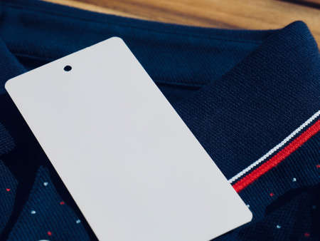 Blue cotton and clothing label