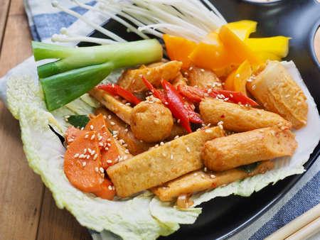 Asian food Stir-fried fish cake vegetables