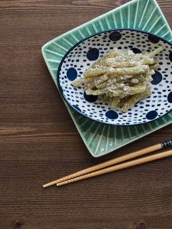 Korean traditional food Petasites japonicus and Perilla seeds stir-fry