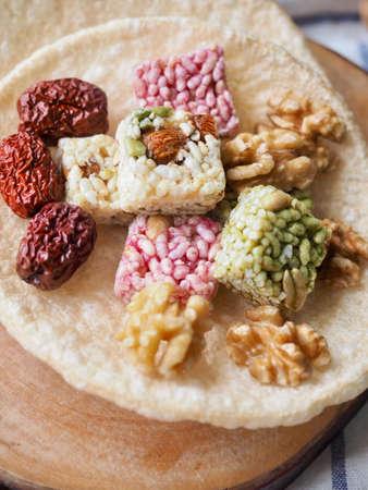 Korean traditional snacks Sweet Rice Puffs, Gangjeong, Walnut
