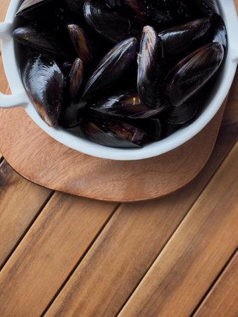 Fresh mussels, food ingredients, shellfish