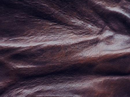 Crumpled Brown Cowhide Background Image