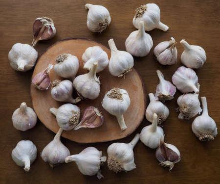 Fresh organic vegetable garlic, food ingredient
