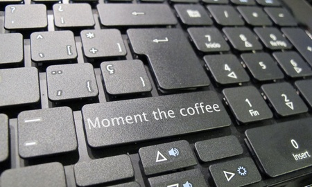 Keyboard time for coffee in english photo