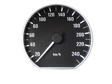 A speedometer on a white background Stock Photo