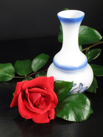 hints: a pretty red rose with vase decorated with hints of black table