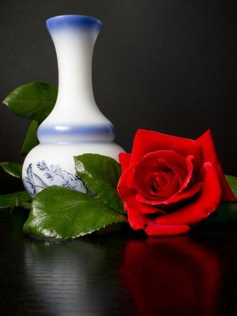traducción del español al inglés large red rose next to a white decorated vase photo