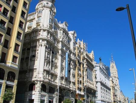 a building detail Gran Via Madrid Spain