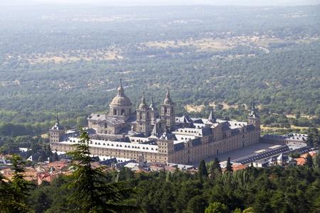 el: a Nice view of the Palacio de Sal Lorenzo del Escorial in Madrid Spain Stock Photo