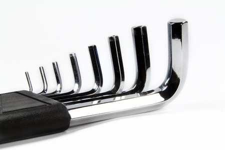 allen wrench: Allen wrench set chrome with white background Stock Photo