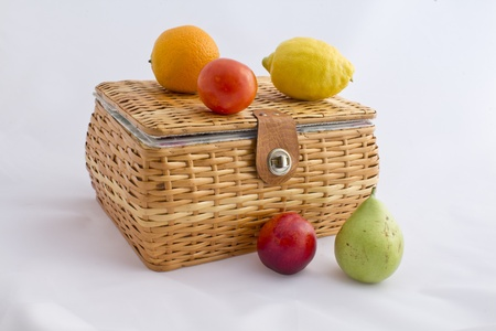 picnic basket with fruit photo